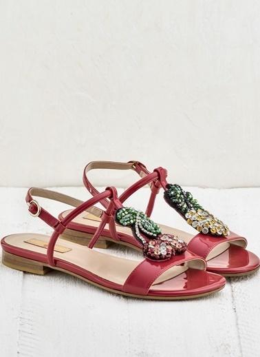 Elle Taşlı Sandalet Kırmızı